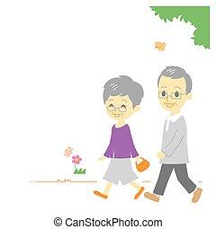 ouwetjes, paar, park, wandelende