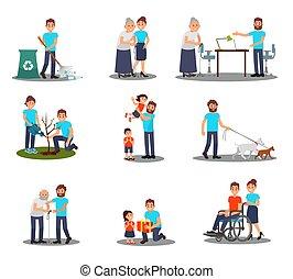 ouwetjes, plat, wandelende, set, aanplant, mensen, flessen, jonge, portie, boompje, vector, ziek, actie, honden, pluk, plastic, vrijwilligers