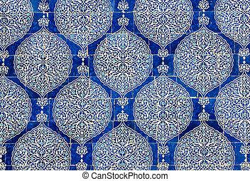ouzbékistan, fond, oriental, carrelé, ornements, backg