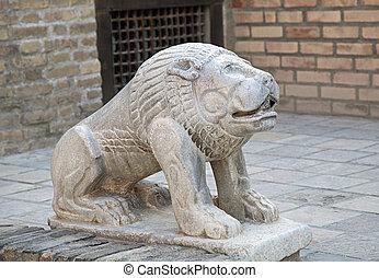 ouzbékistan, pierre, lion