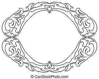 ovális, díszítő, barokk, dekoratív, keret