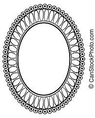 ovális, díszítő, dekoratív, keret