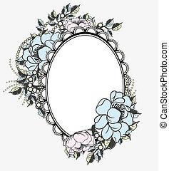 ovális, virágos, keret, sablon