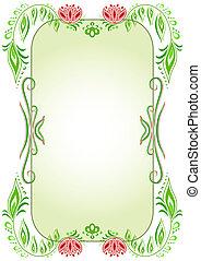 ovális, virágos, keret, zöld, függőleges