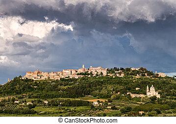 oväder, ölbryggning, över, montepulciano