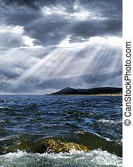 oväder, över, den, hav