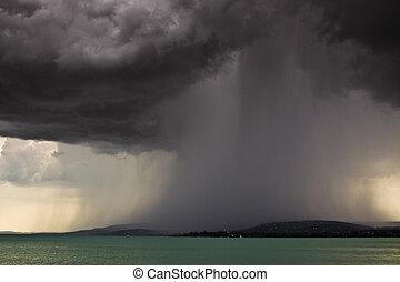 oväder, över, den, insjö, balaton