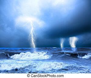 oväder, och, åska, på, den, hav