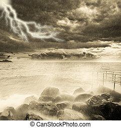 oväder, ovanför, den, ocean, coast.