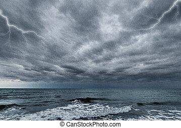 oväder, ovanför, den, ocean.