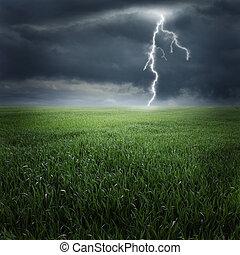 oväder, på, den, fält