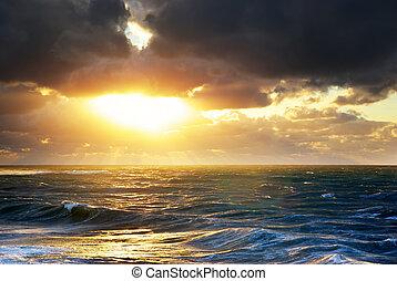 oväder, på, den, sea.