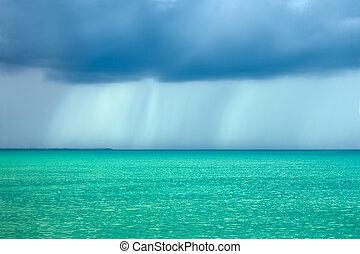 oväder, regn sky, över, den, turkos sjögång