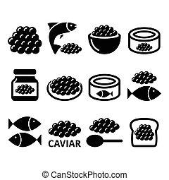 ova, jogo, ícones, ovos, caviar, peixe