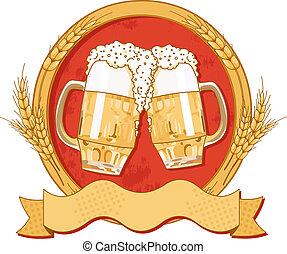 ovaal, bier, etiket, ontwerp