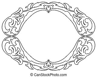 ovaal, decoratief, barok, decoratief, frame