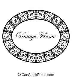 ovaal, decoratief, frame, deco, kunst