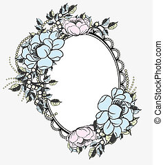 ovaal, floral, frame, mal