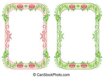 ovaal, floral, frame, twee, verticaal