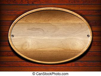 ovaal, hout, plank, op, muur