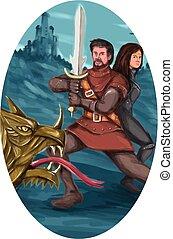 ovaal, vecht, draak, ridder, watercolor, dame