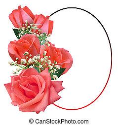 ovaalvormige omlijsting, met, rozen