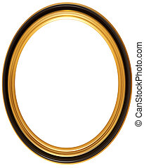 Oval antique picture frame - Isolated illustration of an ...