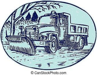 oval, arado, camión, nieve, aguafuerte