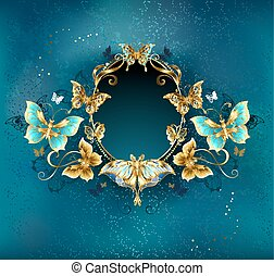 Oval banner with luxurious butterflies - Oval banner...