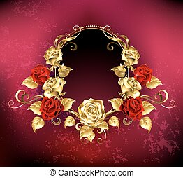 Oval banner with roses - red Oval banner with gold frame...