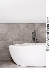 Oval bathtub in empty bathroom