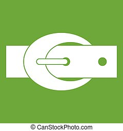 Oval belt buckle icon green
