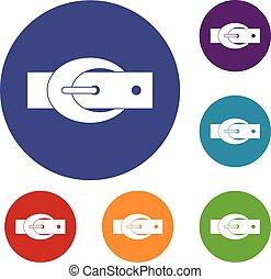 Oval belt buckle icons set