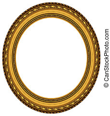 oval, bilderrahmengold