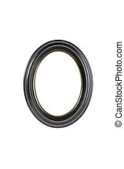oval black picture frame, isolated on white