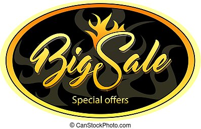 Oval black tag with Big Sale