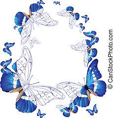 oval, blaues, rahmen, vlinders