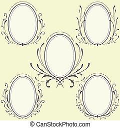 oval, blommig, inramar, prydnad