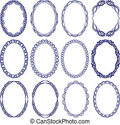oval border - set of decorative oval borders