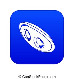 Oval clothes button icon blue