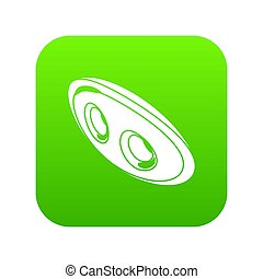 Oval clothes button icon green