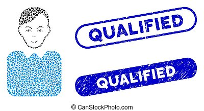 Oval Collage Bureaucrat with Distress Qualified Watermarks