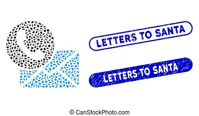 Oval Collage Contacts with Textured Letters to Santa Watermarks