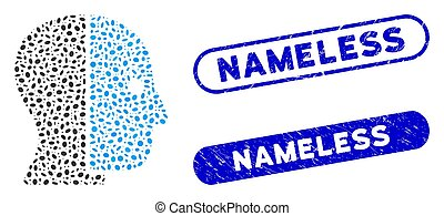 Mosaic hidden profile and rubber stamp seals with Nameless caption. Mosaic vector hidden profile is formed with scattered ellipse pieces. Nameless seals use blue color, and have round rectangle shape.
