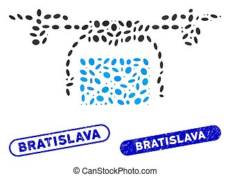 Oval Collage Mail Delivery Drone with Grunge Bratislava Stamps