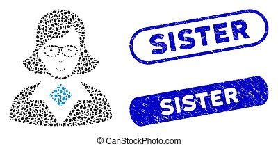 Oval Collage Teacher Lady with Grunge Sister Stamps