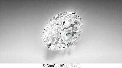 Oval Cut Diamond - Oval cut diamond on gray background...