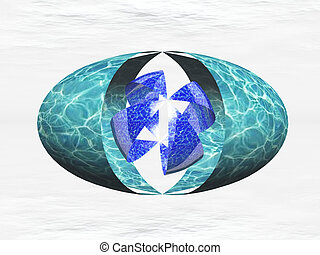 oval, de, agua, con, un, diseño, en, él