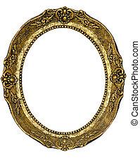 oval, dourado, quadro