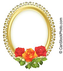 oval, dourado, quadro, rosas